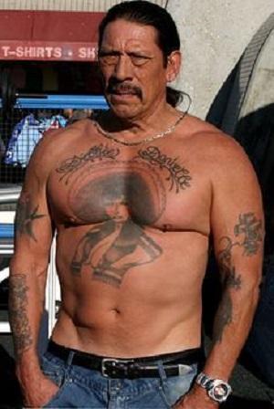 Danny Trejo Catholic Cross Tattoos